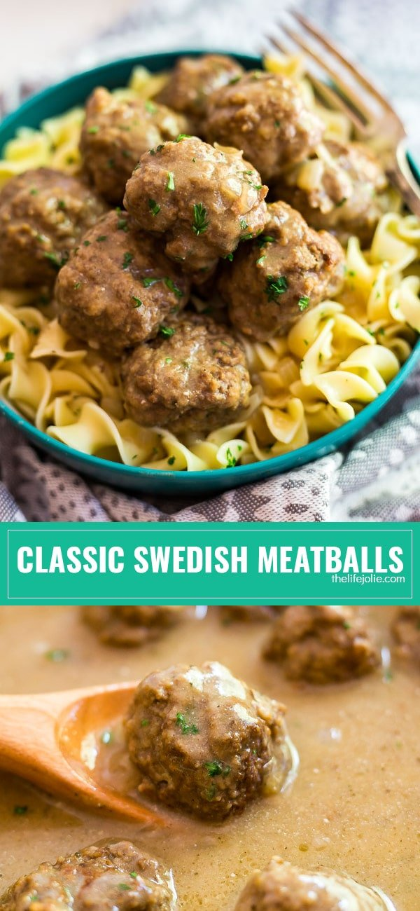 These classic Swedish Meatballs are an authentic and easy family meal. This homemade recipe is made on the stovetop with a savory gravy- it's the best way to warm up on a chilly day!