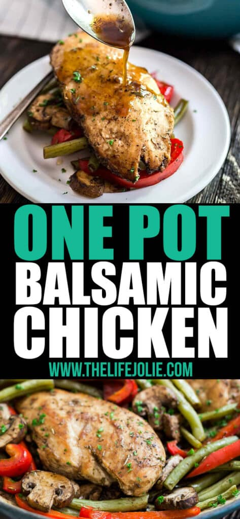 This One Pot Balsamic Chicken Recipe is one of the most healthy, quick and easy weeknight dinner recipes around! Made with chicken, green beans, red peppers, mushrooms, and balsamic vinegar, it's also great for meal prep!!