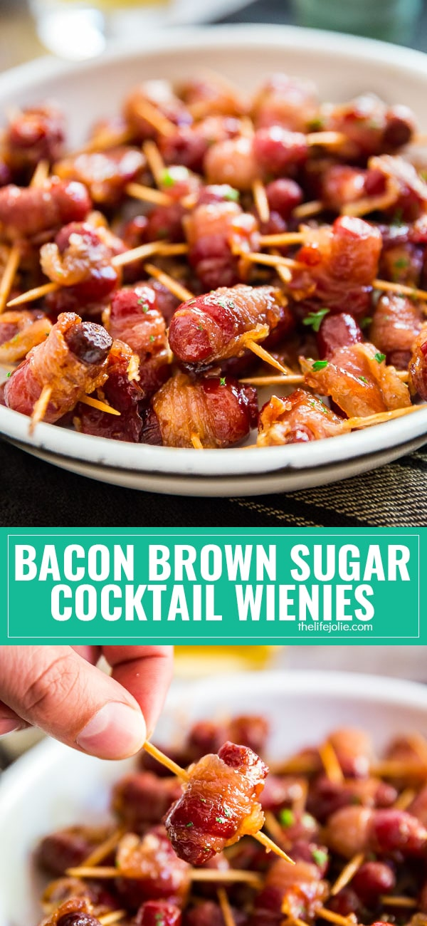 The savory and sweet mix of bacon and brown sugar, wrapped around cocktail wienies (or lil smokies, as some like to call them!) makes these an addictive treat- don't plan on having any leftovers with this one!! The savory and sweet mix of bacon and brown sugar, wrapped around cocktail wienies (or lil smokies, as some like to call them!) makes these an addictive treat- don't plan on having any leftovers with this one!!