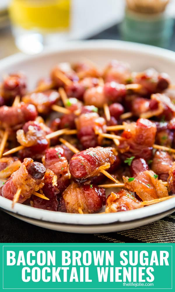 The savory and sweet mix of bacon and brown sugar, wrapped around cocktail wienies (or lil smokies, as some like to call them!) makes these an addictive treat- don't plan on having any leftovers with this one!!