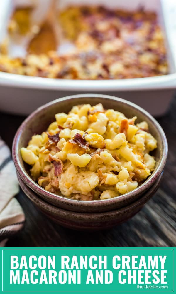 This Bacon Ranch Mac and Cheese recipe is a fun twist on this classic homemade family favorite. Smoky bacon and zesty ranch seasoning combine in a creamy cheese sauce on the stove and as finished in the oven- this is a fantastic game day option, but easy enough to enjoy on a busy weeknight.