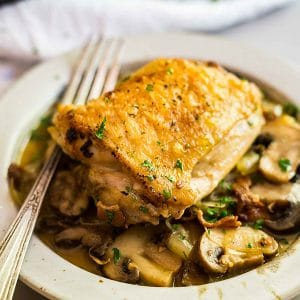 A square image of Champagne Braised Chicken Thighs.