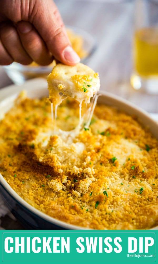 Hot Chicken Swiss Dip: it's ooey, gooey, cheesy and totally addictive! This easy recipe is a great appetizer made with simple ingredients. It's the comfort food that game day dreams are made of!