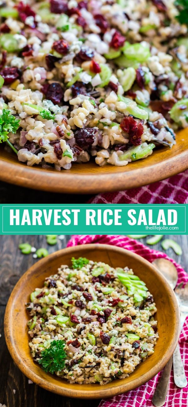 This Harvest Wild Rice Salad is the perfect make ahead side dish for Thanksgiving or any other party. It's an easy recipe to make with dried cranberries, shallots, celery and crumbly blue cheese. Everyone will be coming back for seconds!