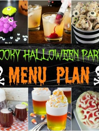 A square image of the recipes in the Ultimate Spooky Halloween Party Menu plan.