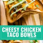 Cheesy Chicken Taco Bowls are the best way to stretch chicken (or turkey) leftovers! They're as quick and easy as they are delicious! This one is a keep and also the perfect way to use Thanksgiving leftovers!