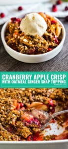 This Cranberry Apple Crisp Recipe with Oatmeal Ginger Snap Topping the best easy twist on old fashioned apple crisp. It's such a quick and simple way to make a homemade dessert that will wow your friends and family this holiday season!
