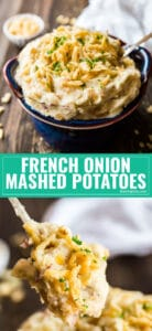If you love classic Mashed Potatoes, you've got to try this easy French Onion Creamy Mashed Potatoes recipe- all the homemade, creamy goodness you love with a savory, umami punch from caramelized onions! This is the best simple way to kick your Thanksgiving (or any regular dinner side dish) up a notch!