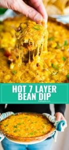Sure, you've had traditional 7 Layer Dip but have you tried Hot 7 Layer Bean Dip? This will be an instant party or game day go-to recipe! It's quick and easy to put together and that melty cheese will have people fighting for more!