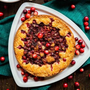 A square image of Orange Cranberry Torte.