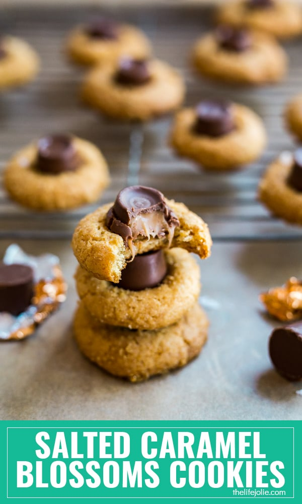 This Salted Caramel Blossoms Cookies recipe is the best easy twist on Traditional Peanut Butter Blossoms. These homemade cookies are the perfect soft and chewy dessert option to make this Christmas or for any other holiday or special occasion (or just because!).
