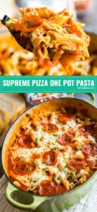 Supreme Pizza One Pot Pasta: This recipe is so easy to make and since it's made in only one pan, the clean up is minimal. It's the best weeknight meal made with penne pasta and all your favorite supreme pizza toppings, this will be a hit with the whole family including your kids! #battistonipepperoni #whomademypepperoni #ad