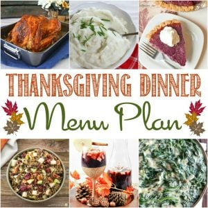 A square image of the recipes in the Easy Thanksgiving Dinner Menu plan.