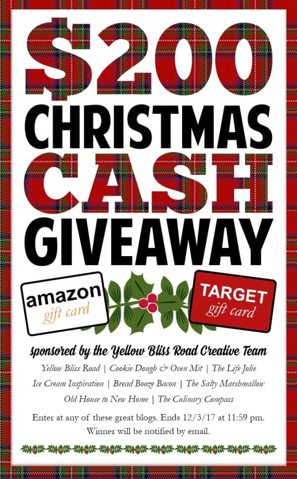 Enter this awesome giveaway to get $200 in Christmas Cash!!