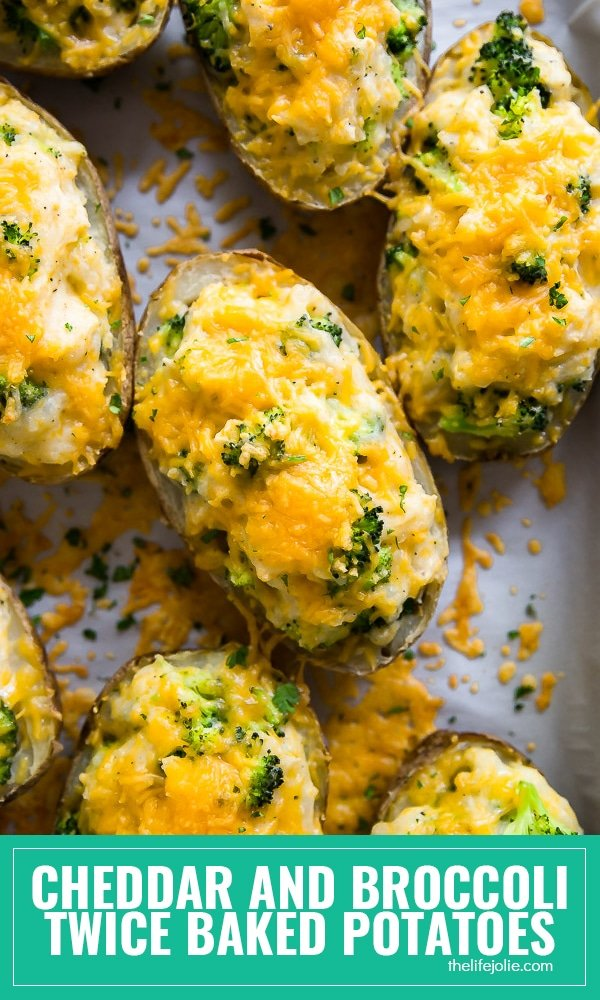 Cheddar and Broccoli Twice Baked Potatoes are the ultimate cheesy side dish for your next dinner! They're an easy recipe to make with simple ingredients and lots of down time. These are the best side for a sinner party or holiday gathering!