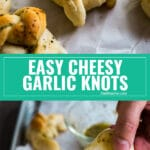 Here's a recipe for how to make a Cheesy Garlic Knot. It's so quick and easy to make tasty Italian garlic knots with refrigerated bread sticks stuffed with mozzarella cheese and slathered with garlic and butter. These are great for Thanksgiving too!