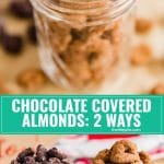 Here's a tutorial on how to make Homemade Chocolate Covered Almond candy two different ways. The first is rolled in Cocoa and Chili powder. The second is topped with salt for a salty-sweet snack! These are great DIY gifts your friends and family will actually want to receive!