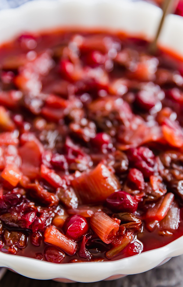A close up of Homemade Cranberry Sauce with Dried Cherries and Shallots.