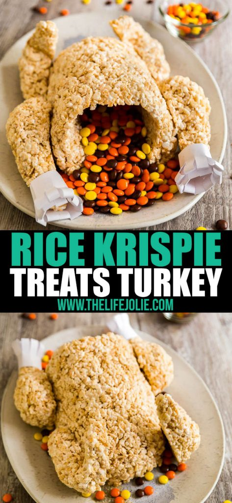 This Rice Krispie Treat Turkey is a super-fun dessert option for both kids and adults! I could not believe how quick and easy it was to make- everyone LOVED it! Such a fun addition to any Thanksgiving dessert table!
