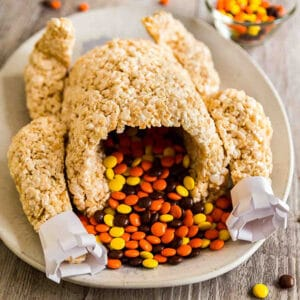 A square image of a Rice Krispie Treat Turkey