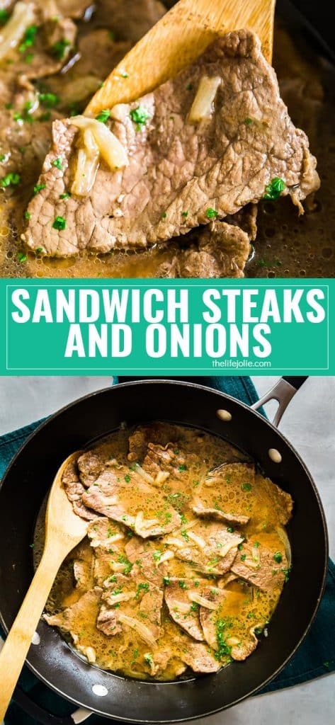 This Sandwich Steak and onions recipe is so easy to make and delicious- I love how you can take 5 simple ingredients and combine them to make the most awesome flavors and so tender! They make a fantastic sandwich for a game day treat and also work really well on their own!