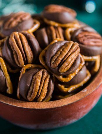 A square image of Chocolate Caramel Pretzel Turtles.