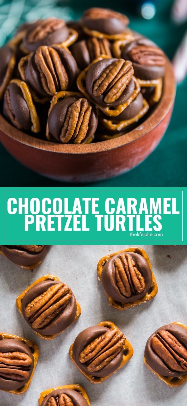 Homemade Chocolate Caramel Pretzel Turtles recipe is such a great Christmas gift to give- just pecans, pretzels and chocolate covered caramel candy and very little work and you've got yourself a delicious, salty-sweet treat that is super addictive and perfect for the holidays!