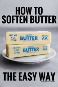 It IS possible to soften butter in the microwave without melting it and I'm going to show you how! Here are a step-by-step directions to get perfectly softened butter without having to plan ahead.