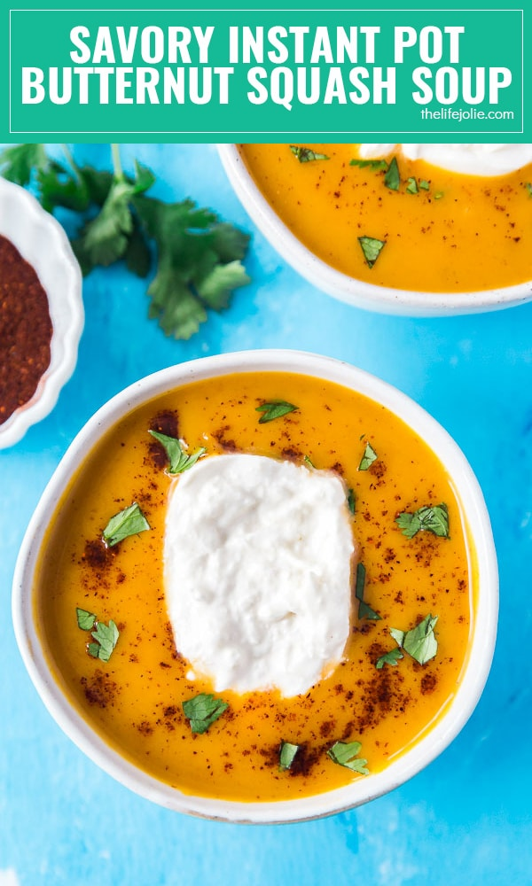 Rich, velvety and surprisingly savory: this Instant Pot Butternut Squash Soup will blow your mind. It can easily be made in a slow cooker if you don't have an instant pot and is seriously easy to make and delicious to eat.