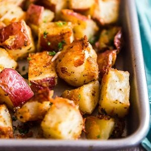 A square image of Parmesan Garlic Roasted Potatoes.