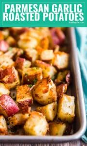 This Parmesan Garlic Roasted Potatoes recipe is SO easy to make and full of delicious flavor. This potato side dish uses Parmesan cheese and garlic powder and bake up super crispy in less than an hour.
