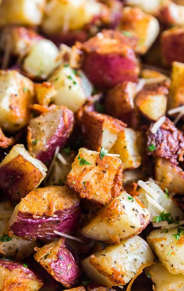 Am up close photo of Parmesan Garlic Roasted Potatoes.