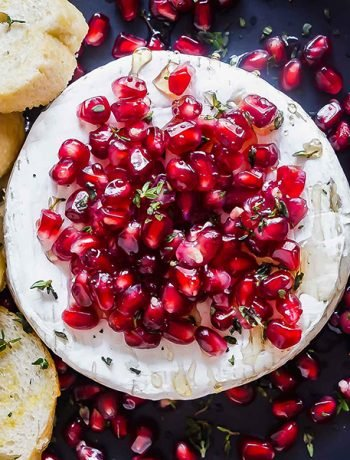 A square image of thr Pomegranate and Thyme Baked Brie Appetizer