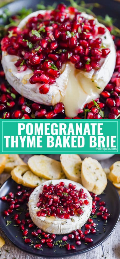 The easy Pomegranate Thyme Baked Brie Appetizer recipe is as simple to make as it is delicious! This is especially great for the holidays!
