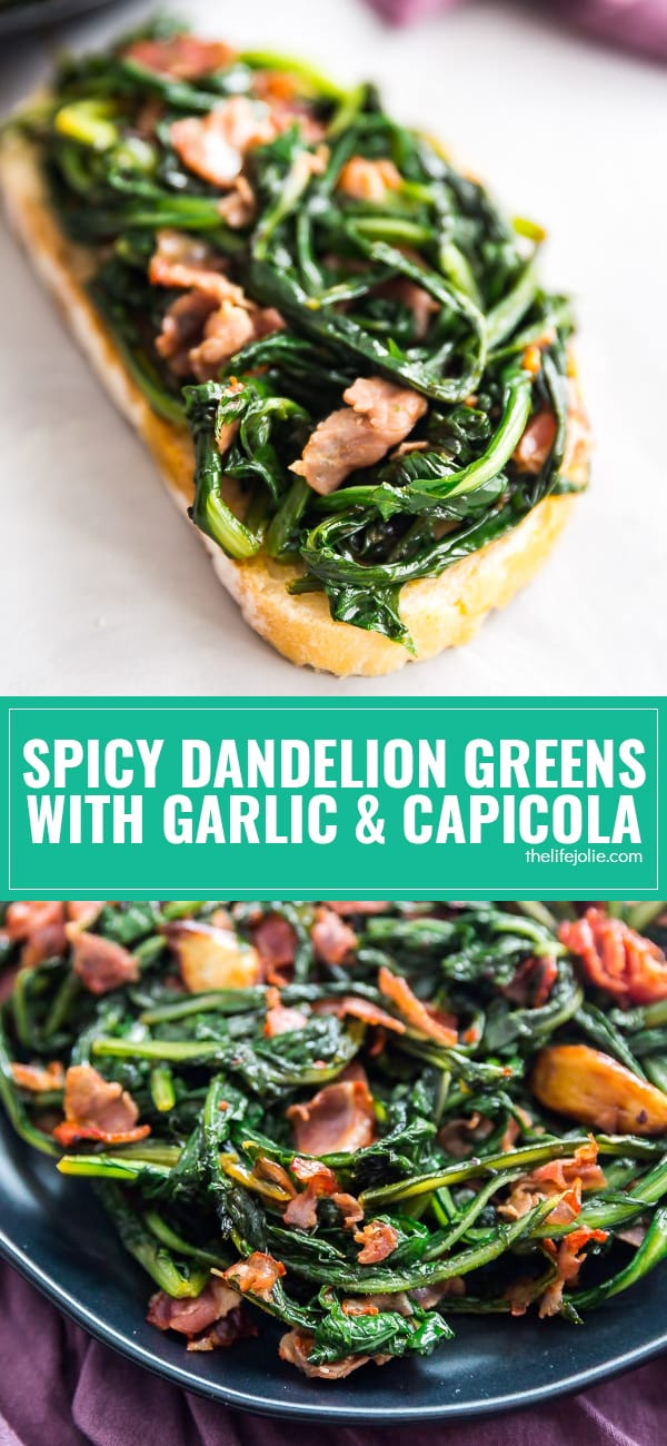 My Grandma's easy and delicious Spicy Dandelion Greens with Garlic and Capicola recipe is so good you'll forget you're eating healthy food! This is a simple method for how to cook this delicious side dish!