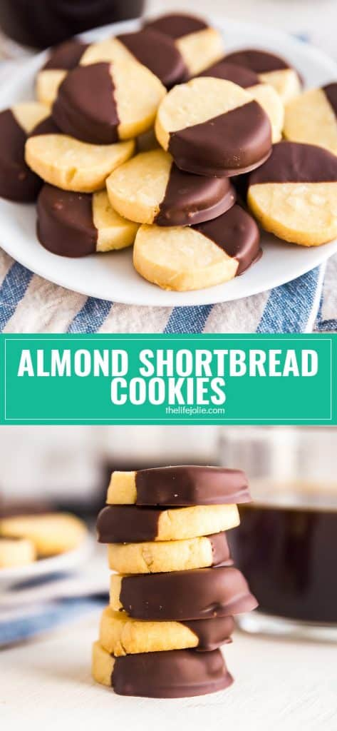 Chocolate Dipped Almond Shortbread Cookies: the buttery, crumbly shortbread texture we all love, dipped in decadent dark chocolate.