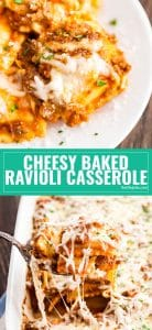 This Cheesy Baked Ravioli Casserole is the very best way to get that cooking-all-day, Sunday-supper-style meal in under an hour. This one is a keeper! It's so easy to make and tastes seriously delicious! The perfect weeknight dinner option!