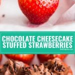Stop what you're doing and go make the Chocolate Cheesecake Stuffed Strawberries. Sweet, juicy strawberries stuffed to the gills with rich, decadent chocolate cheesecake. These are so easy to make and dangerously addictive!