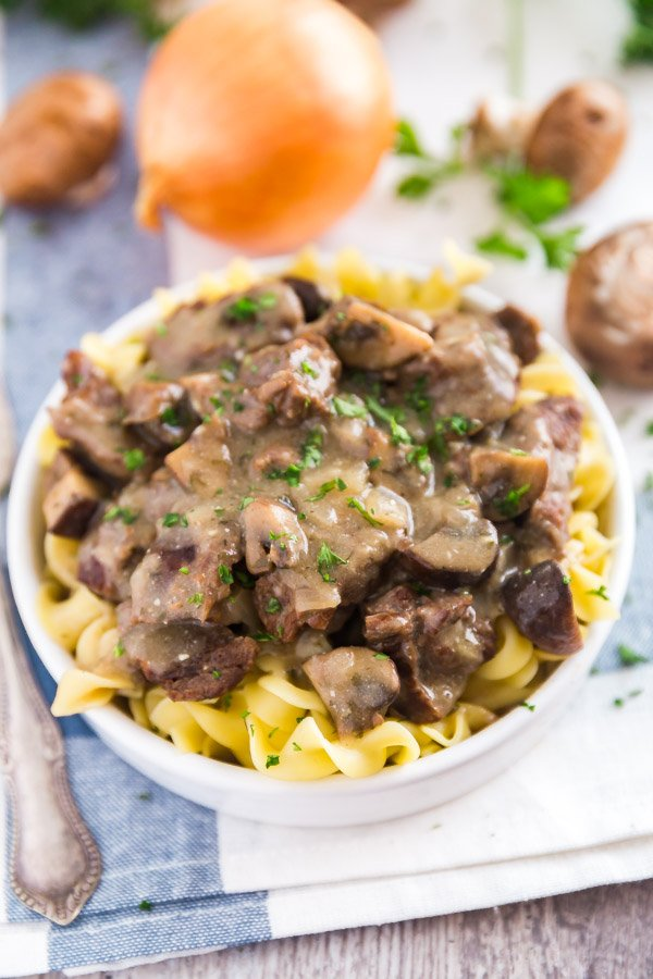Easy Beef Stroganoff Recipe on a white plate