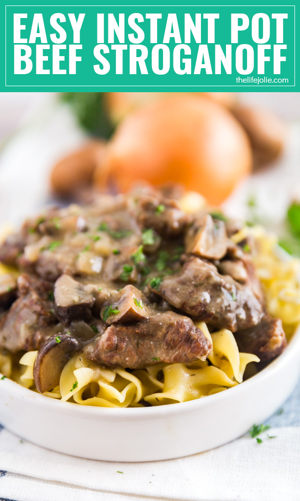 This Easy Beef Stroganoff Recipe is the perfect way to warm up on a cold night. With options for both the Instant Pot and Slow Cooker, this delicious comfort food has never been easier to make for dinner!