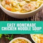 Everyone should have a good chicken soup recipe up their sleeve and this Easy Homemade Chicken Noodle Soup recipe is a simple way to get a big bowl of comfort made from scratch! It's a great way to use leftover chicken and vegetables and tastes awesome with a big pice of bread.