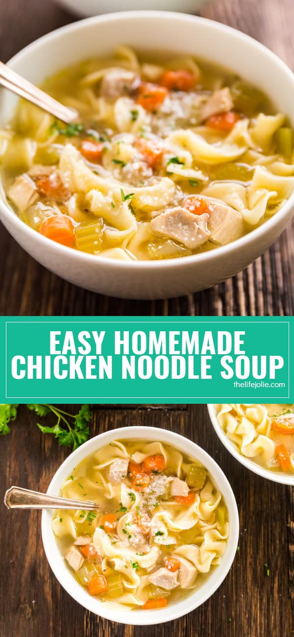 Everyone should have a good chicken soup recipe up their sleeve and this Easy Homemade Chicken Noodle Soup recipe is a simple way to get a big bowl of comfort made from scratch! It's a great way to use leftover chicken and vegetables and tastes awesome with a big piece of bread.