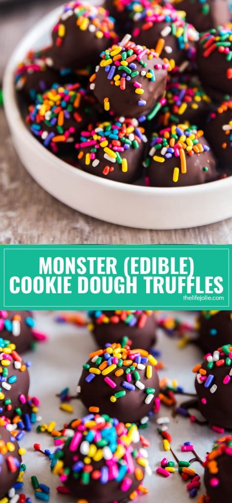 Warning: You will not be able to eat just one of theMonster (Edible) Cookie Dough Truffles. They are so insanely easy to make and are super kid friendly as well. Best of all, no eggs! They really are that good!