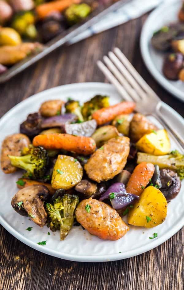 A close up of a plate of One Pan Baked Italian Sausage and Veggies.