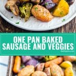 Weeknight dinner should be quick and easy as it is delicious and this One Pan Baked Italian Sausage and Veggies seriously delivers! Ready in 40 minutes and full of broccoli, carrots mushrooms, onions, potatoes and sausage, it's sure to please even the pickiest eaters!