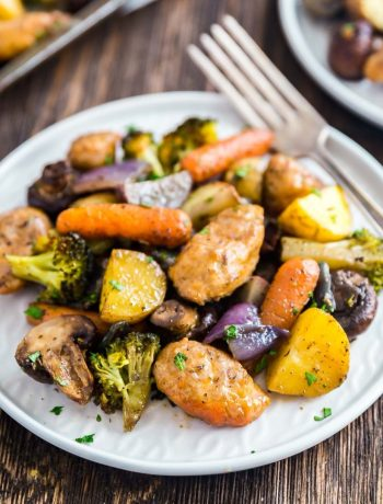 A square image of One Pan Baked Italian Sausage and Veggies.