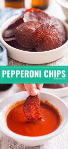 Crispy, spicy and dangerously addictive: this Pepperoni Chips Recipe is the party snack you never knew you needed and won't be able to stop eating! They're seriously easy to make and are totally delicious for a party or get together (hello game day!!).