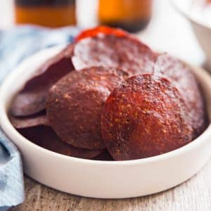 A square image of the Pepperoni Chips Recipe.