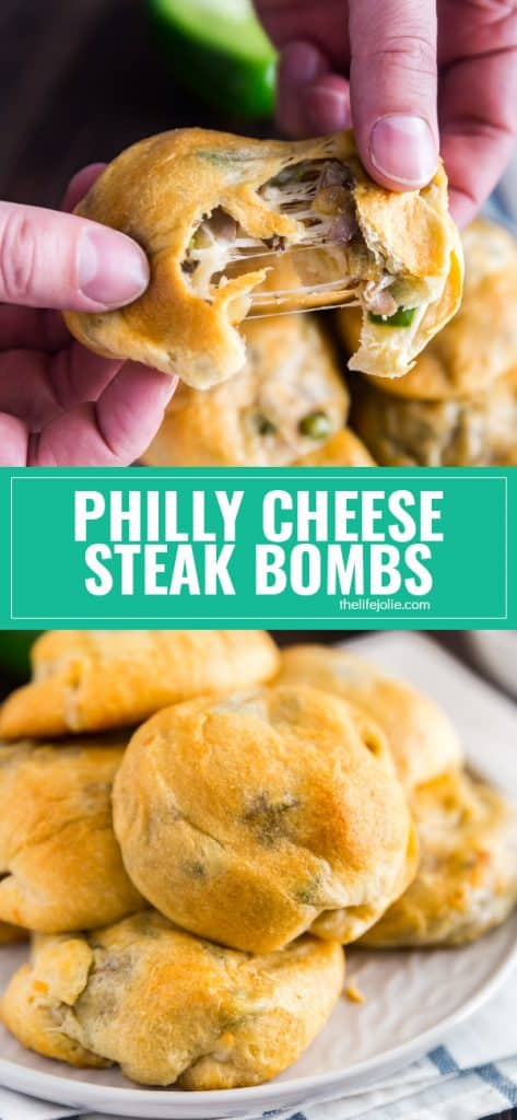 These Philly Cheese Steak Stuffed Bread Rolls (or Philly Cheese Steak Bombs for short) are the best game day snack- they are so easy to make and savory and delicious!