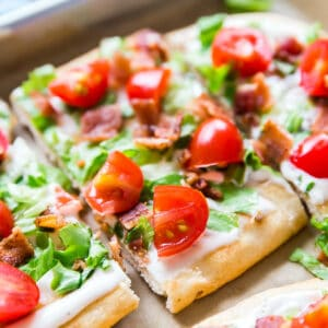 A square image of BLT Ranch Flatbread Pizza.